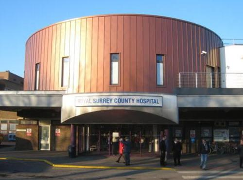 The main entrance to the Royal Surrey County Hospital, the big local hospital which I'd rather see a bit less of, though I'm grateful to have it!