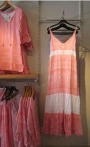 Peach-coloured summer dresses, which the English would call frocks.